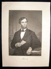 Abraham Lincoln 1873 Antique Portrait Print